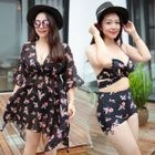 Set: Floral Bikini + Cover Up 1596