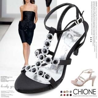 Buy Chione Bejeweled Satin T-Strap Sandals 1023068345