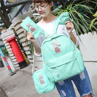 Set: Print Canvas Backpack + Shoulder Bag + Pouch + Drawstring Pouch
