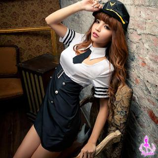 Policewoman Party Costume White & Black - One Size 1035404175