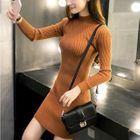 Long-Sleeve Ribbed Knit Dress 1596