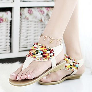Picture of KAWO Beaded Thong Sandals 1022897852 (Sandals, KAWO Shoes, China Shoes, Womens Shoes, Womens Sandals)
