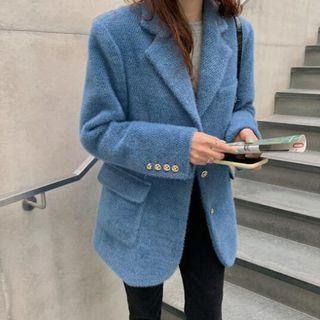 Image of Single Breast Furry Coat