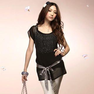 Buy Tokyo Fashion Set: Rhinestone Chiffon Top + Camisole 1022523347
