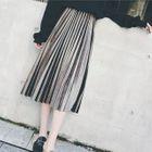 Accordion Pleat Velvet Skirt 1596