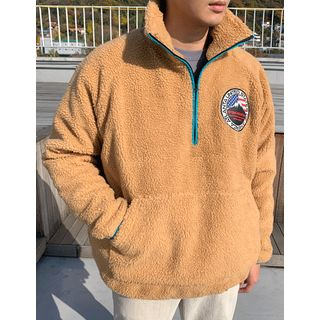 Embroidery-patched Sherpa-fleece Anorak Pullover