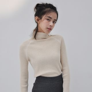 Mock-Neck Cropped Knit Top 1062786120