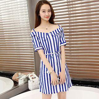 Pinstriped Off-shoulder Short-Sleeve Dress 1050914890