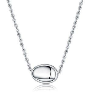 Bling Bling Platinum Plated 925 Silver Round Oval Bead Necklace image