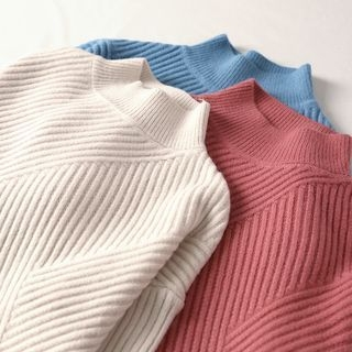 Ribbed Long-Sleeve Knit Top 1063788809