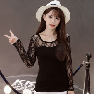 Image of Lace Long-Sleeve Panel T-Shirt