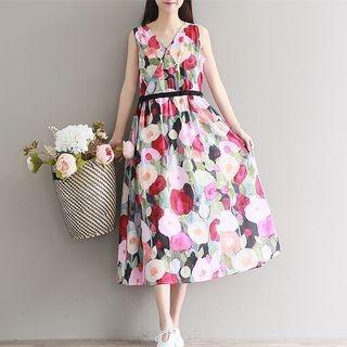 Sleeveless Printed A-line Midi Dress 1059478242