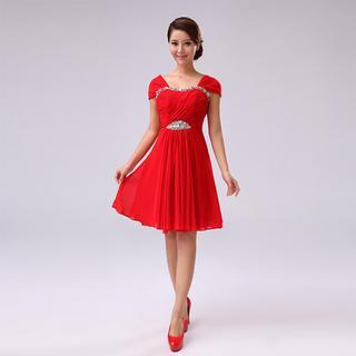 Cap-Sleeve Diamante A-Line Cocktail Dress