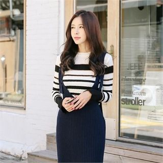 Striped Slim-Fit Ribbed Knit Top 1063027401