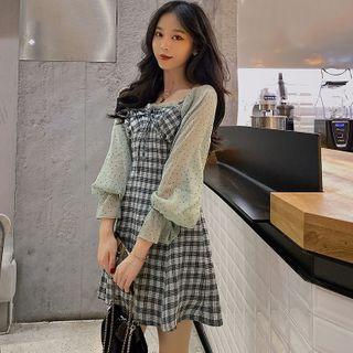 Long-sleeve   Chiffon   Plaid   Dress   Mini