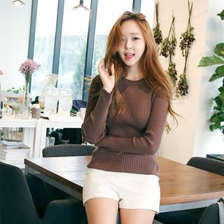 Crewneck Ribbed Knit Top 1052984051