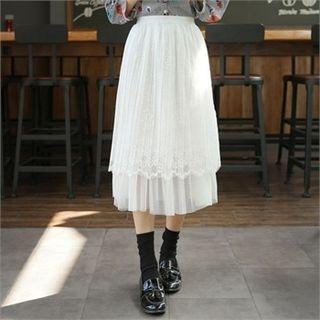Band-Waist Long Tulle Skirt 1058274681
