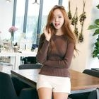 Crewneck Ribbed Knit Top 1596