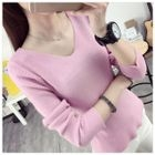 Ribbed V-Neck Long Sleeve Knit T-Shirt 1596