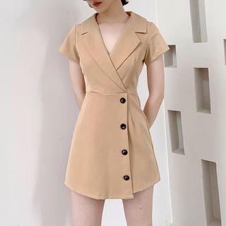 Image of Buttoned V-Neck Short-Sleeve Mini A-Line Dress