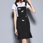 Set: Short Sleeve T-Shirt + Bee Embroidered Striped Pinafore Dress 1596