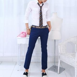 Picture of moscod Set: Tab-Sleeve Shirt + Cropped Cotton Pants 1022811930 (moscod, Mens Suits, Korea)