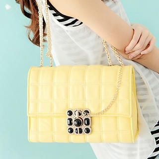 Jeweled Quilted Shoulder Bag