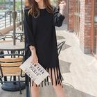 Fringe-Hem T-Shirt Dress 1596
