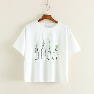 Image of Embroidered Short-Sleeve Crewneck T-Shirt