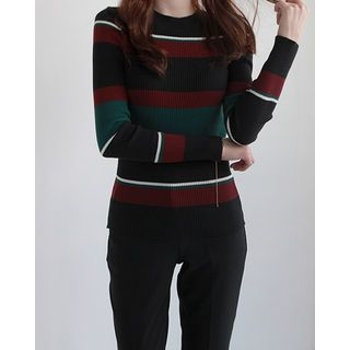 Slim-Fit Stripe Knit Top 1061948097