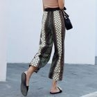 Patterned Cropped Wide Leg Pants 1596