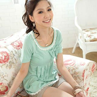 Buy Tokyo Fashion Bow Lace-Trim Pleated Top 1023000330