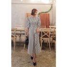 Lace-Up Striped A-Line Dress 1596