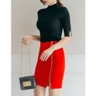 Slit-Sleeve Ribbed Knit Top 1596