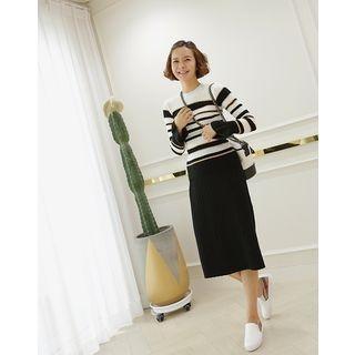 Ribbed Knit Midi Skirt 1062051352