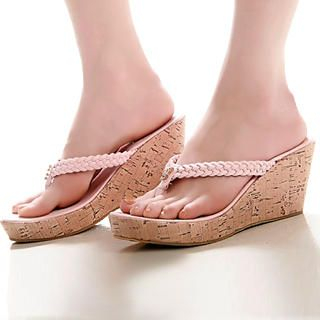 Buy Kvoll Rhinestone Cork Wedge Mules 1022503239