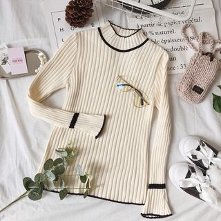 Mock-neck Ribbed Long-Sleeve Top 1064080986