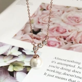 Rhinestone | Necklace | Sterling | Pendant | Silver | Pearl | Rose | Faux | Gold | Size | One