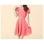 Frill Sleeve Chiffon Dress 1596