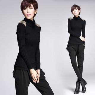Beaded Turtleneck Ribbed Sweater 1057637813