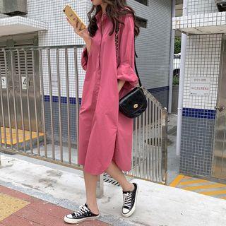 Plain Long-sleeve Midi Shirt Dress As Shown In Figure - One Size