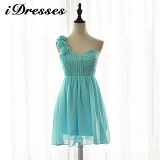 One-shoulder Rosette Bridesmaid Dress