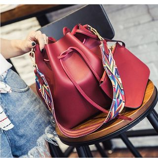 Image of Bucket Bag with Patterned Nylon Shoulder Strap