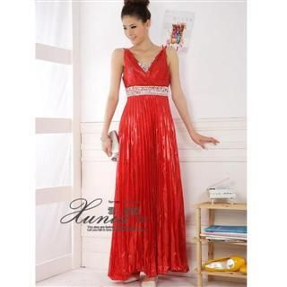 Buy Xunia Jeweled Lam  Pleated Cocktail Dress Red – One Size 1022823352