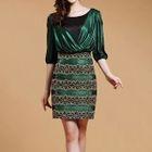 Panel Elbow-Sleeve Dress 1596