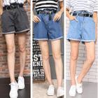 High Waist Wide Leg Denim Shorts with Belt 1596