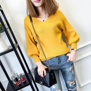 Ribbed V-Neck Sweater 1052914486