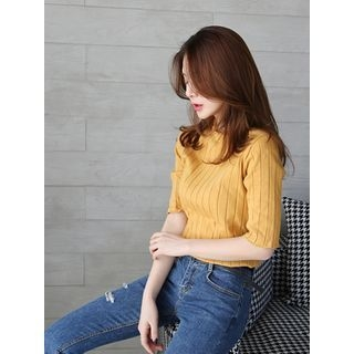 Short-Sleeve Ribbed Slim-Fit Top 1057380632