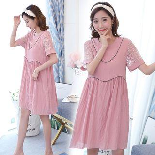 Short-sleeve | Maternity | Babydoll | Dress | Lace
