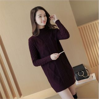 Mock-neck Ribbed Knit Dress 1057187256